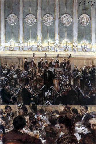 Adolph von (Adolf) Menzel - Konzert mit dem Dirigenten Bilse