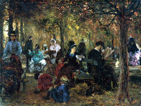 Adolph von (Adolf) Menzel - Remembrance to the garden Luxemburg