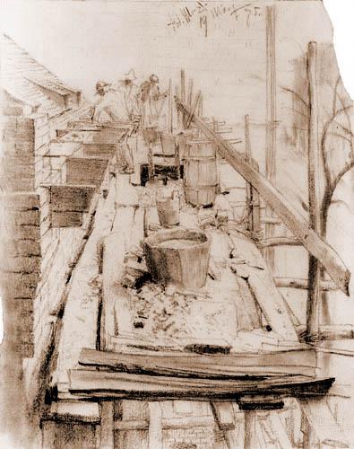 Adolph von (Adolf) Menzel - Working bricklayers of a scaffold