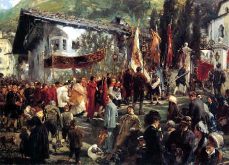 Adolph von (Adolf) Menzel - Procession in Hofgastein