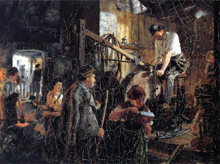Adolph von (Adolf) Menzel - Iron workshop with smithy into Hofgastein