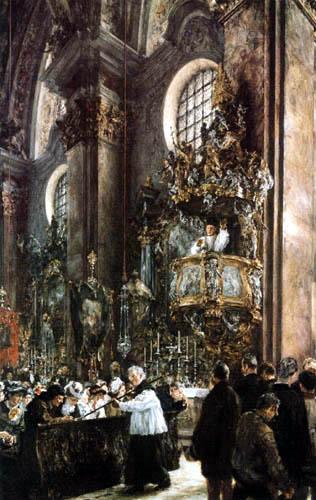Adolph von (Adolf) Menzel - Predigt in einer Innsbrucker Kirche