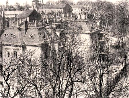 Adolph von (Adolf) Menzel - Häuser hinter kahlen Bäumen