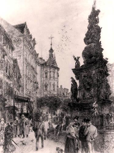 Adolph von (Adolf) Menzel - 'Graben' in Vienna