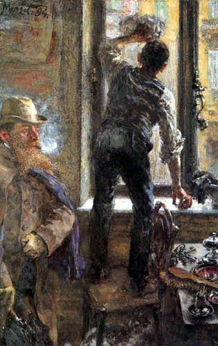 Adolph von (Adolf) Menzel - Der Fensterputzer im Cafe