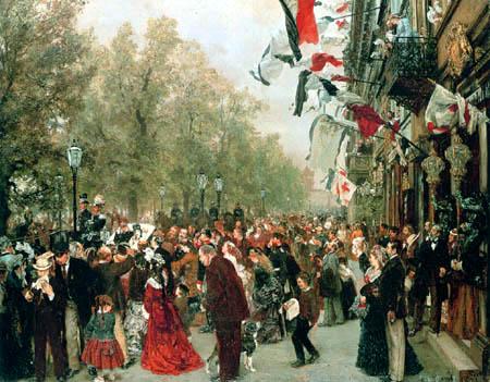 Adolph von (Adolf) Menzel - The departure of King Wilhelm I
