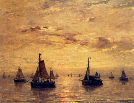 Hendrik Willem Mesdag - Sailing vessels in a Calm