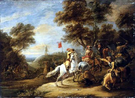 Adam Frans van der Meulen - A cavalry skirmish with a windmill on a hill beyond