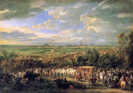 Adam Frans van der Meulen - Louis XIV and Maria Theresa in front of Arras