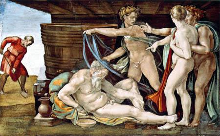 Michelangelo Buonarroti - Sixtinische Kapelle, Die Trunkenheit Noahs