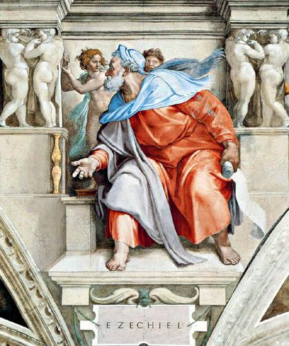 Michelangelo Buonarroti - Sixtinische Kapelle, Der Prophet Ezechiel