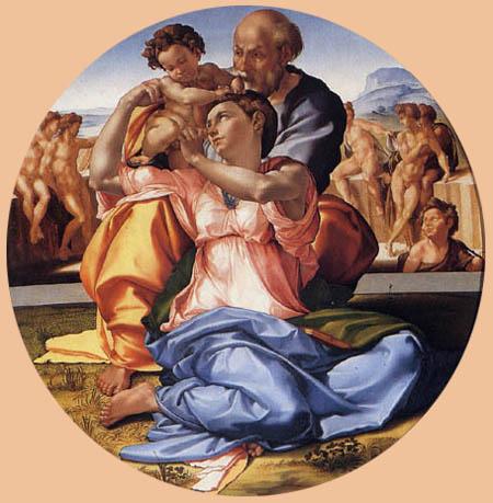Michelangelo Buonarroti - Die heilige Familie mit Johannes dem Täufer