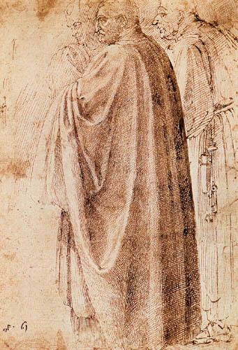 Michelangelo Buonarroti - Drei stehende Männer nach links gewendet