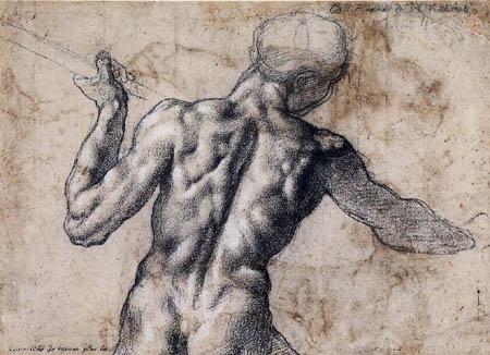 Michel-Ange - Un homme nu de dos