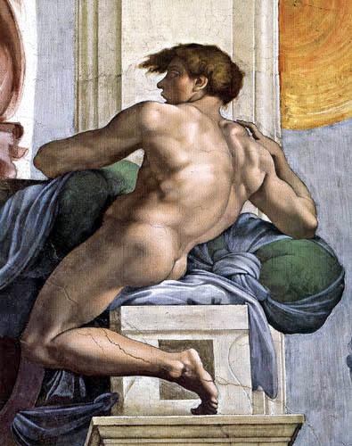 Michelangelo Buonarroti - Sixtinische Kapelle, Ein Ignudo