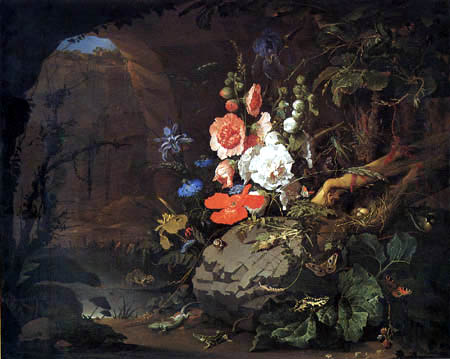 Abraham Mignon - Still life with Flowers and saurians