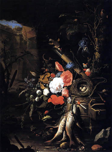 Abraham Mignon - Still life with a quail nest