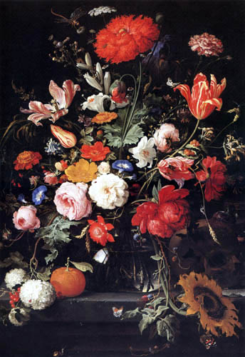 Abraham Mignon - Still life with vase of flowers