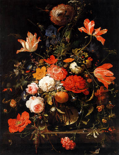 Abraham Mignon - Still Life a Vase of Flowers