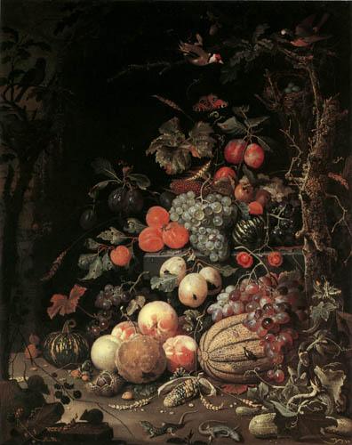 Abraham Mignon - Stilleben mit Pfirsischen und Weintrauben