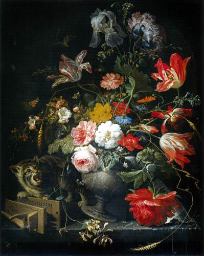 Abraham Mignon - Stilleben mit Blumenvase und Katze