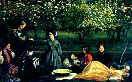 Sir John Everett Millais - Picnic under Apple Blossoms