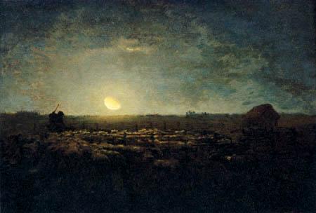 Jean-François Millet - Gehege der Schafe im Mondschein