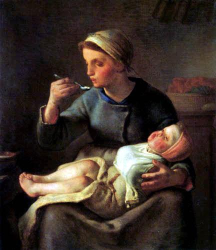 Jean-François Millet - A mother feeds her child