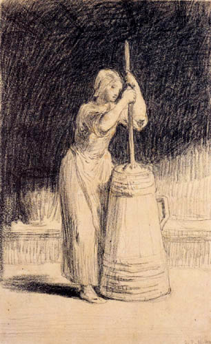 Jean-François Millet - Woman at the butter churn