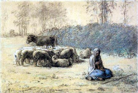 Jean-François Millet - Shepherdess and herd