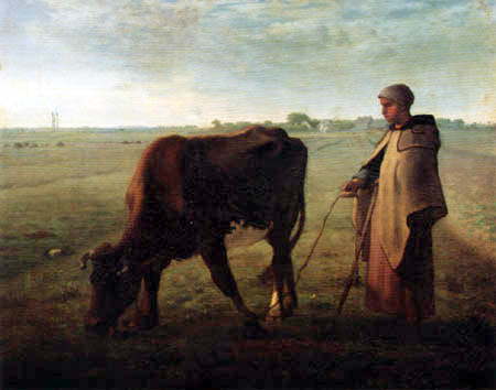 Jean-François Millet - Woman and grazing cow