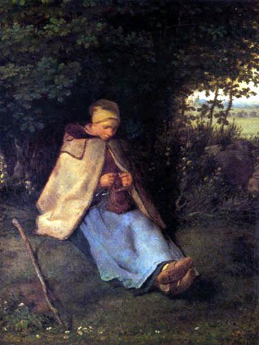 Jean-François Millet - Seated woman, weaving