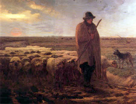Jean-François Millet - Shepherd leading its flock in the evening