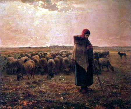 Jean-François Millet - Shepherd keeping her flock of sheep