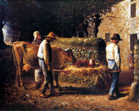 Jean-François Millet - The birth of the calf