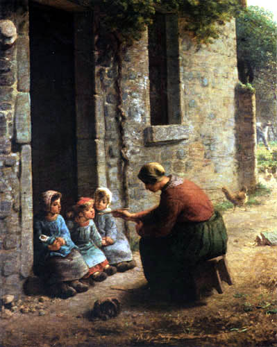 Jean-François Millet - Farmer's wife feeds her children