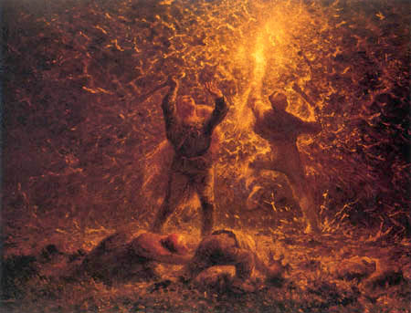 Jean-François Millet - Bird hunt with fire