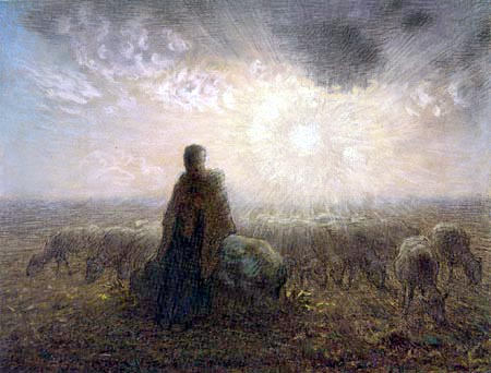 Jean-François Millet - Die Hirtin mit ihrer Herde in der Dämmerung