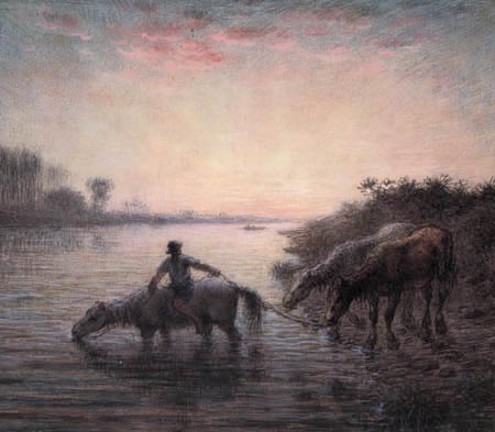 Jean-François Millet - The bath of horses