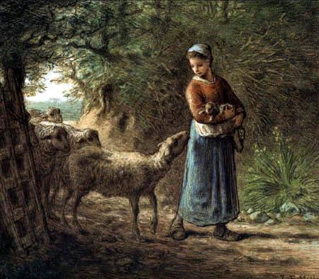 Jean-François Millet - The newborn lamb
