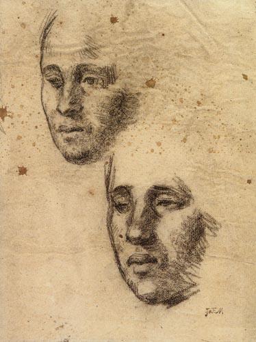 Jean-François Millet - Two studies of a woman