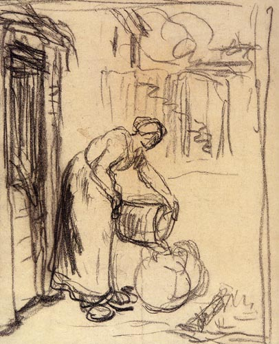 Jean-François Millet - Study for 'Woman at well'