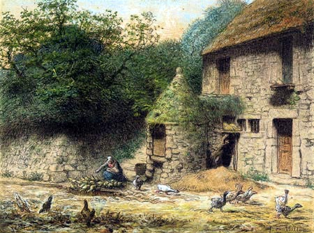 Jean-François Millet - The house with well near Gruchy