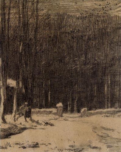 Jean-François Millet - La porte aux vaches par temps de neige