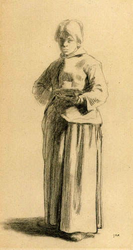 Jean-François Millet - Study of a Woman holding a Cup