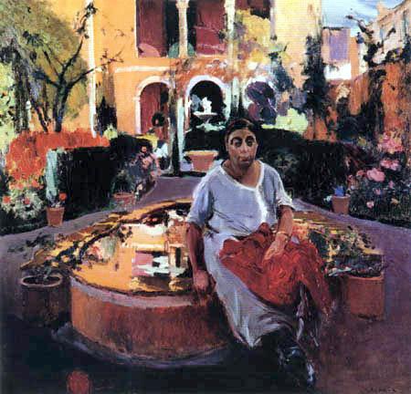 Joaquim Mir Trinxet - La femme de artiste dans le jardin