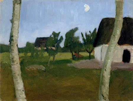 Paula Modersohn-Becker - Häuser, Birken und Mond