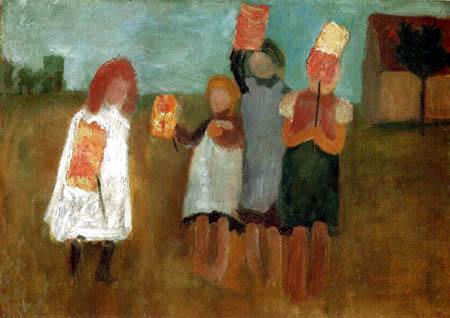 Paula Modersohn-Becker - Kinder mit Papierlaternen