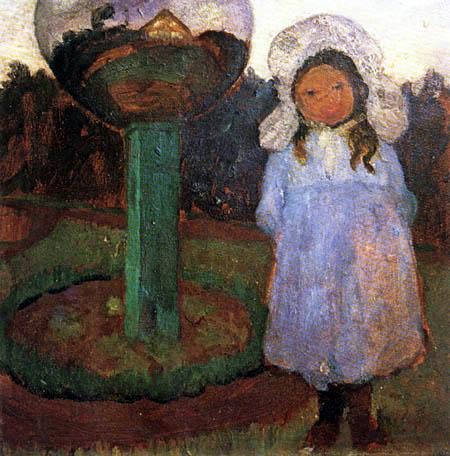 Paula Modersohn-Becker - Elsbeth im Garten neben einer Glaskugel
