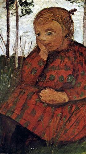 Paula Modersohn-Becker - Sitzendes Mädchen auf einer Wiese